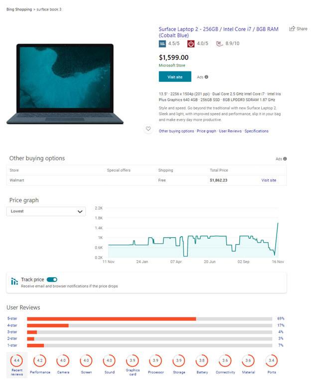 Bing shopping tab